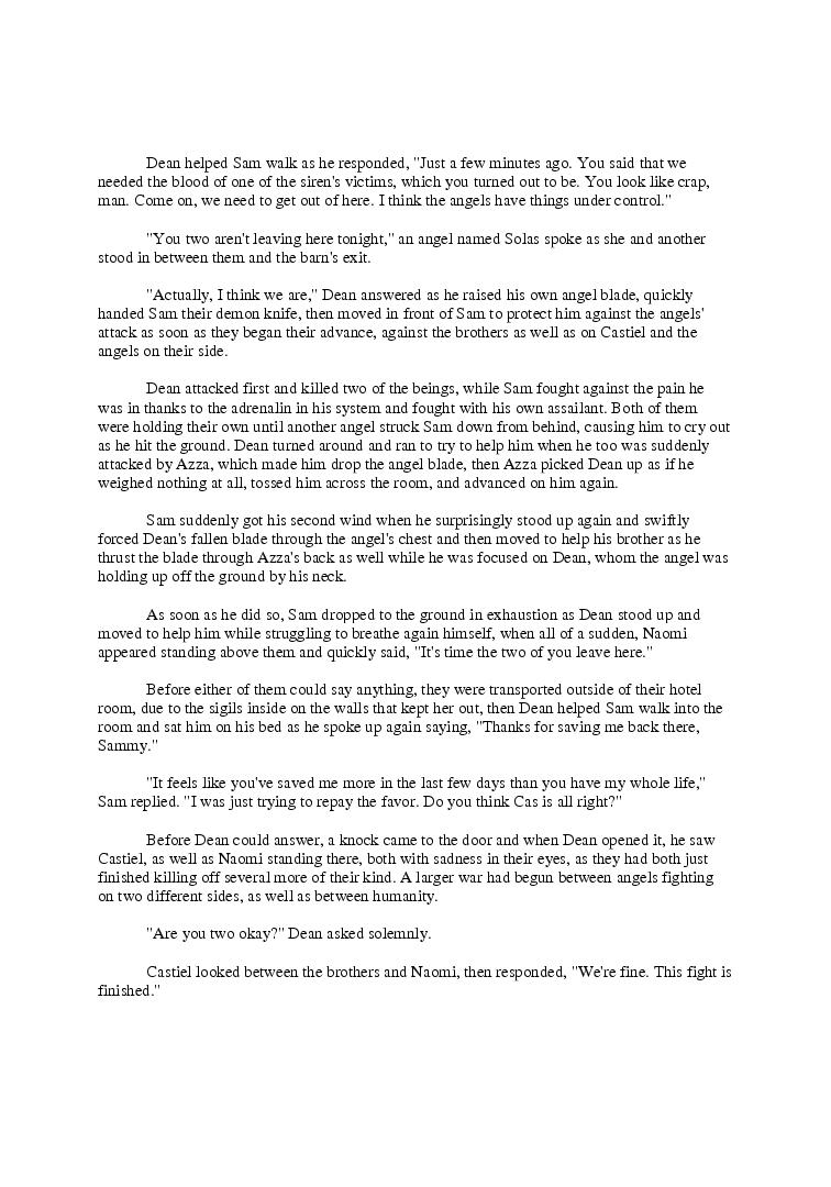 Calling All Angels - Supernatural Fanfiction   Page 13215869   Book
