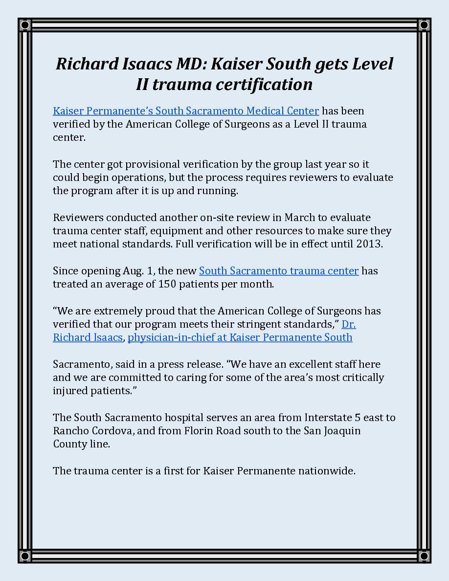 Richard isaacs md kaiser south gets level ii trauma certification richard isaacs md kaiser south gets level ii trauma certification cover page book 544983 bookemon xflitez Images