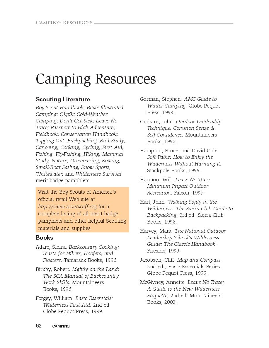 Camping Merit Badge   Cover Page   Book 568202 - Bookemon